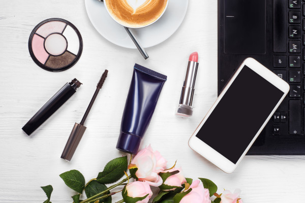 Cosmetics laptop cup of coffee cappuccino purse mobile phone smartphone
